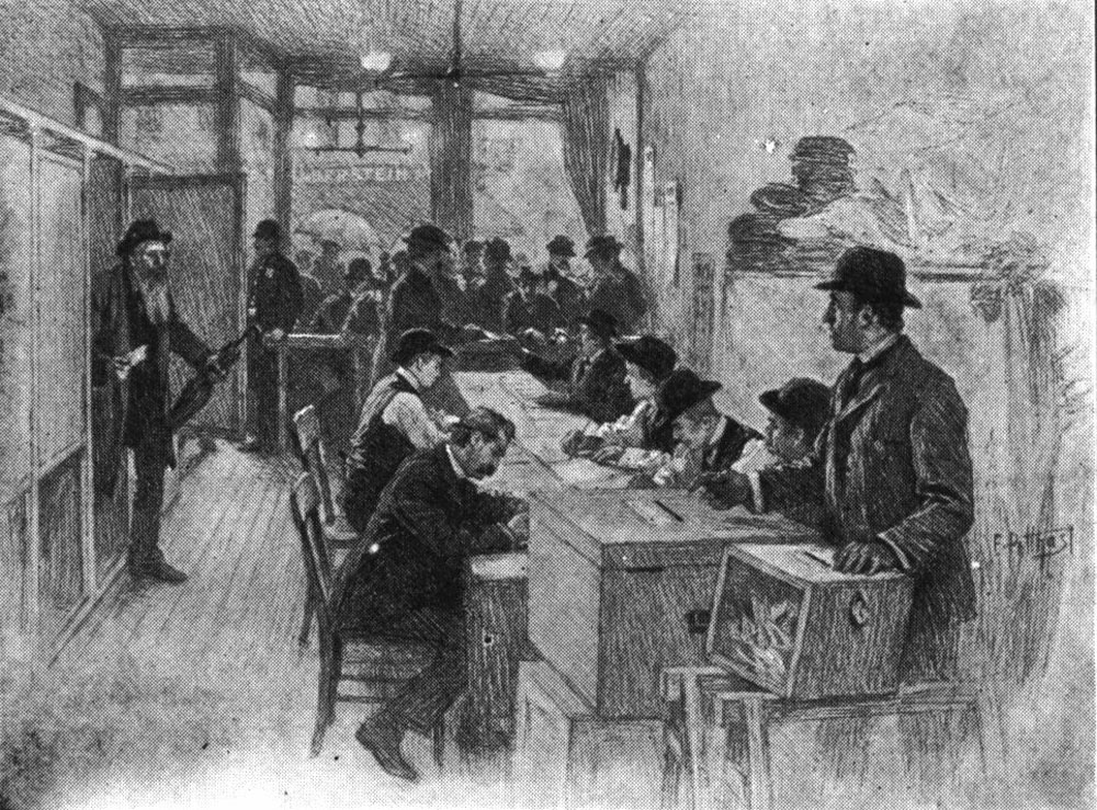 New York voting booth circa 1900. Courtesy of Wikipedia