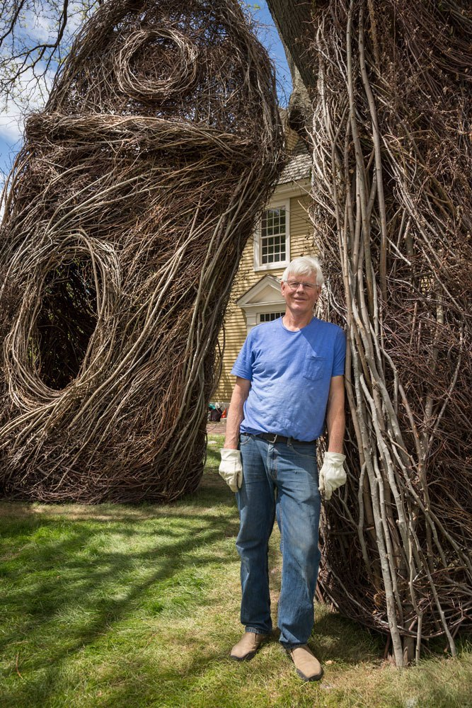 "Patrick Dougherty and ""Stickwork."" Courtesy of Peabody Essex Museum"