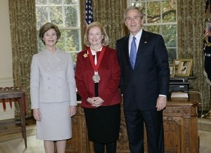 President George W. Bush and Laura Bush with Mary Ann Glendon, 2005 (Courtesy - Wikipedia)