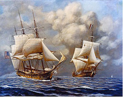 US frigate Constellation capturing the French frigate L'Insurgent in the first major engagement of the Quasi-War. Courtesy of Wikipedia