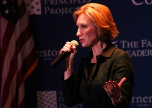 "Carly FIorina vowed to fight ""crony capitalism."" (Evan Lips – New Boston Post)"