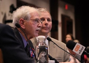 Dr. William Lawton, left, was one of four physicians, along with Dr. Paul Carpentier, right, to testify against the bill, joining Dr. Laura Lambert. (Evan Lips - New Boston Post)