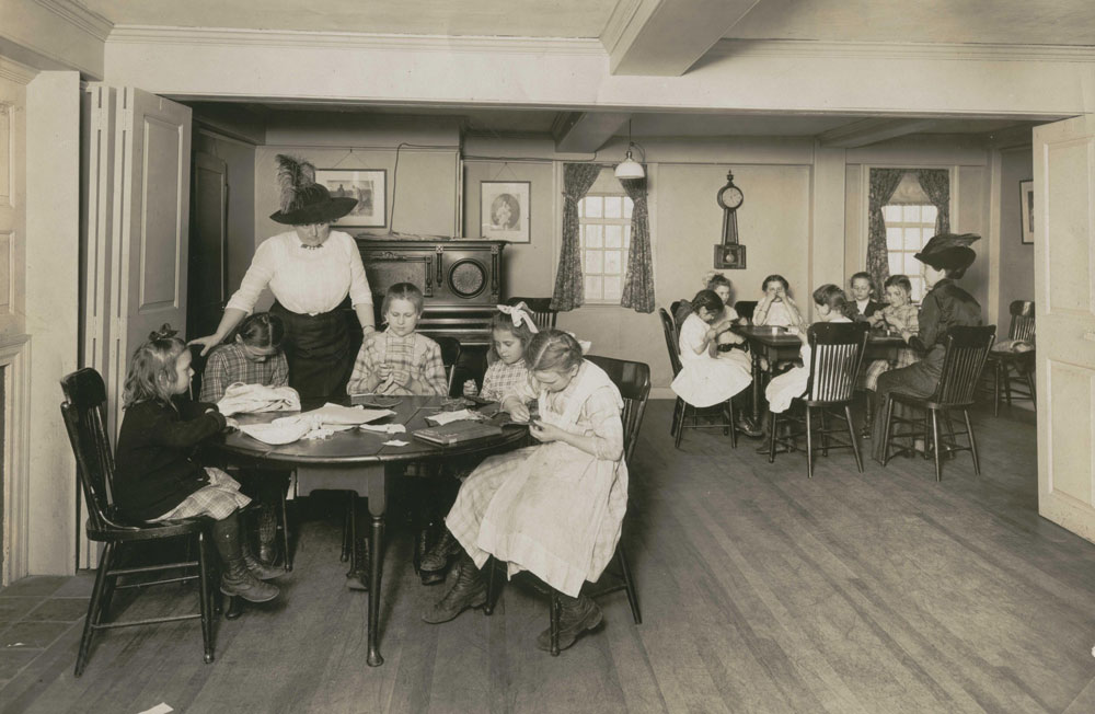 Caroline Emmerton at a settlement class (Courtesy, The House of the Seven Gables)