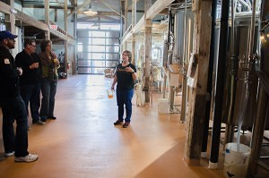 Nicole Carrier explains the microbrewery process to the tour group (Beth Treffeisen)