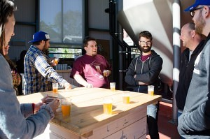 Tour group at Smuttynose Brewing Company (Beth Treffeisen)