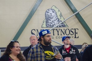 Guests wear safety goggles as they tour through Smuttynose Brewery Company (Beth Treffeisen)