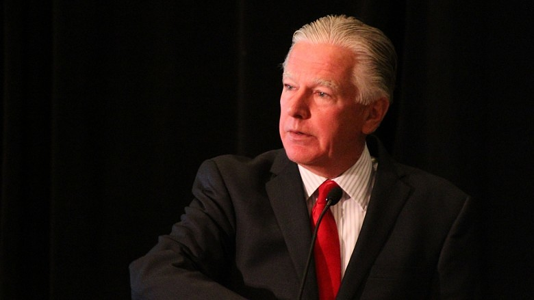 UMass President Marty Meehan spoke in Boston on Tuesday (11/10/15) about the transformation of higher education at an event sponsored by the Cristo Rey High School of Boston. (Evan Lips - New Boston Post)