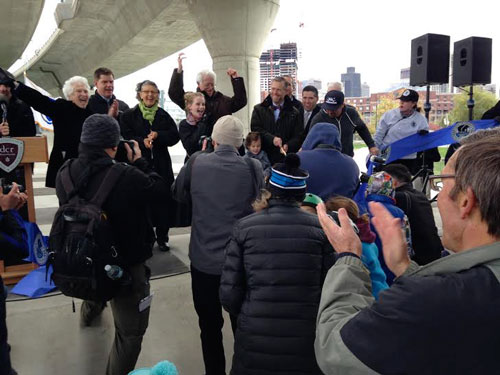 From immediate left, Peter Lynch, Mayor Martin Walsh and Renata von Tschaner at the ribbon cutting of the Lynch Family Skatepark. (Diane Kilgore, NewBostonPost)