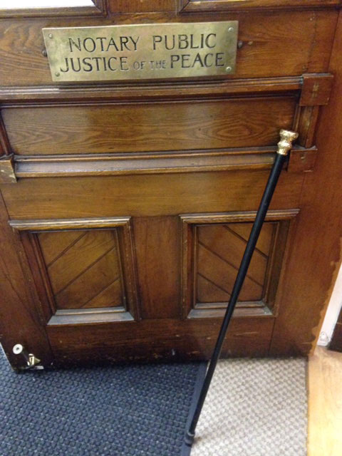 The Marblehead Boston Post Cane outside the vault at Abbott Hall in Marblehead.