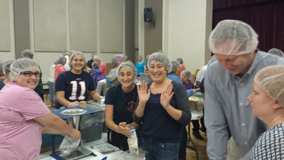 Church workers at the Save the Starving Children drive. (Courtesy of St. George's Church)
