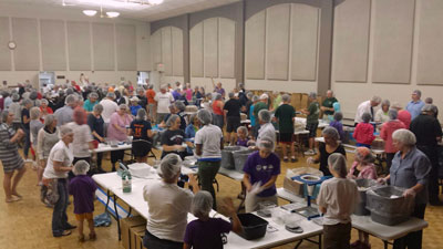 Part of the crowd of over 500 volunteers at the Save the Starving Children Drive. (Courtesy of St. George's Church)