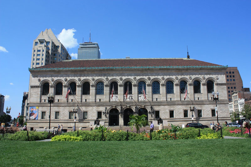 The exterior of the Boston Public Library.