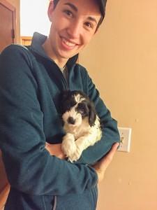 Sarah with her dog Bruno