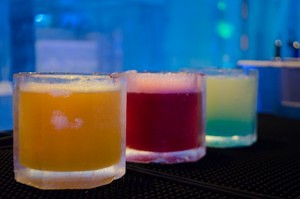 From left to right, feature cocktails include Mexican Snow Shoe, Yeti's Blood, and Avalanche cocktails in ice glasses.