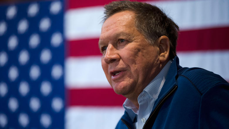 Republican presidential candidate, Ohio Gov. John Kasich speaks during a campaign stop, Tuesday, Jan. 26, 2016, in New Boston, N.H. (AP Photo/Matt Rourke)