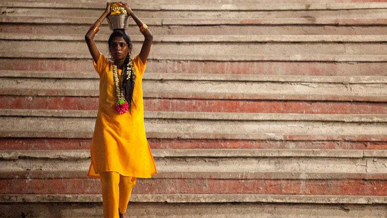 A Hindu devotee carries a bowl of milk as an offering during her Thaipusam pilgrimage in Kuala Lumpur, Malaysia, on Jan. 24, 2016. (Religion News Service photo by Alexandra Radu)