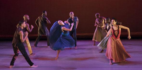 Alvin Ailey American Dance Theater in Ronald K. Brown's Open Door. (Photo by Paul Kolnik)