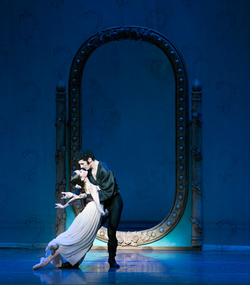 Petra Conti and Lasha Khozashvili in John Cranko's Onegin. (Photo by Gene Schiavone, courtesy of Boston Ballet)