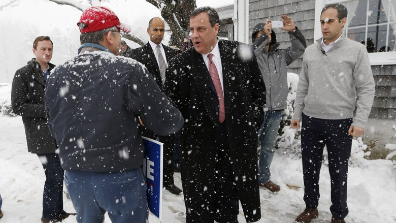 Republican presidential candidate New Jersey Gov. Chris Christie greets a supporter during a snow storm at a campaign stop at the Strafford Farms Restaurant Friday Feb. 5 2016 in Dover N.H