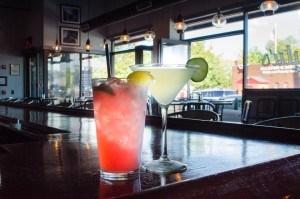 Two drinks on the menu at Lulu's Allston (New Boston Post photo by Beth Treffeisen)