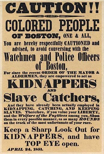 Fugitive Slave Law era poster,1851 (Wikipedia)