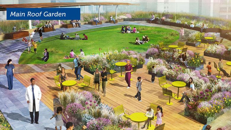 An artist rendering of the Boston Children's Hospital's main rooftop garden. (Courtesy of Boston Children's Hospital)