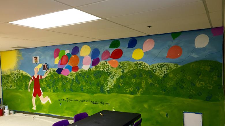 The mural at the Montrose School in Medfield. (Photo courtesy Clara Cahill Farella)