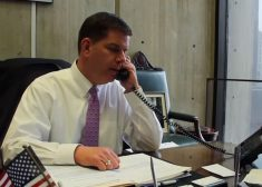 walsh on phone in mayor's office – CoB-youtube