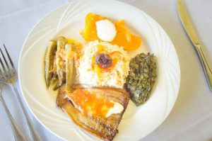 A vegetarian meal at Ariana's Restaurant (New Boston Post photo by Beth Treffeisen)
