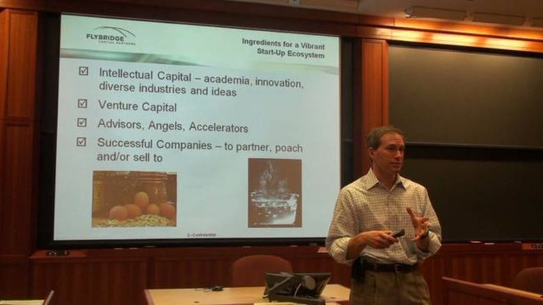 Jeffrey Bussgang of Boston-based Flybridge Capital speaks with Harvard Business School students in 2010 about    the startup environment in Boston. (Image courtesy of Vimeo.com)