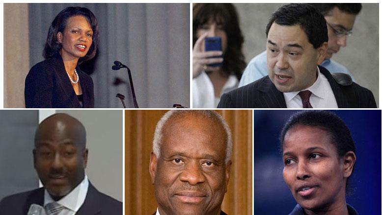 Clockwise starting at top left: Condoleezza Rice, Miguel Estrada, Ayaan Hirsi Ali, Justice Clarence Thomas, The Rev. Kevin Johnson. (Photos via AP, Wikipedia and YouTube)