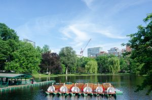 The Swan Boats rest on a sunny afternoon in the Boston Public Garden (New Boston Post photo by Beth Treffeisen)