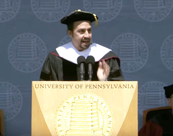 Lin-Manuel Miranda speaks at the University of Pennsylvania