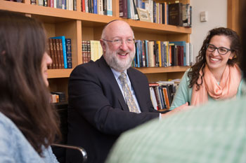 Rabbi Daniel Lehmann, President of Hebrew College, with students (Courtesy of Hebrew College)