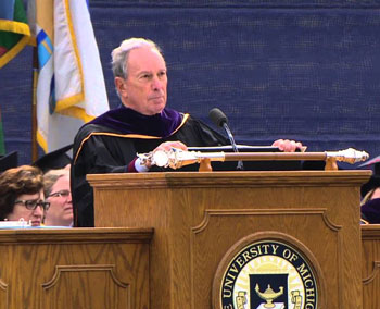Michael R. Bloomberg speaks at the University of Michigan