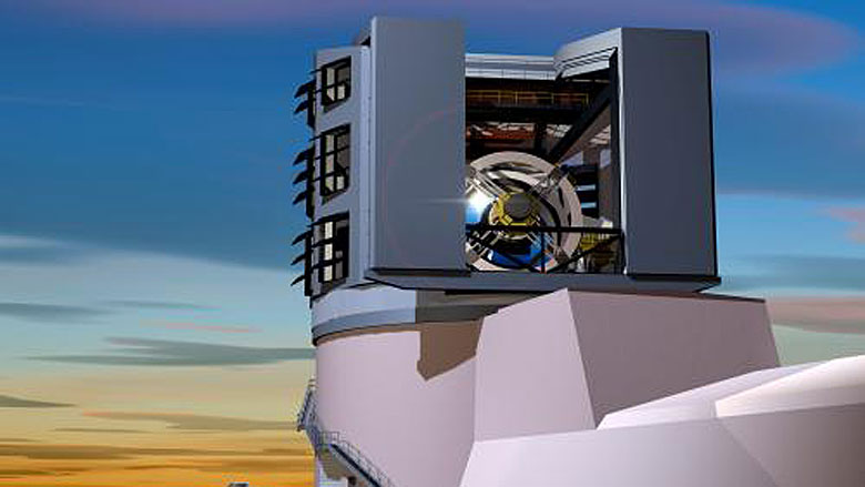 Artist's rendition of the LSST primary mirror seen through the slit of the dome at sunset. (Credit: Todd Mason, Mason Productions Inc./LSST Corporation)
