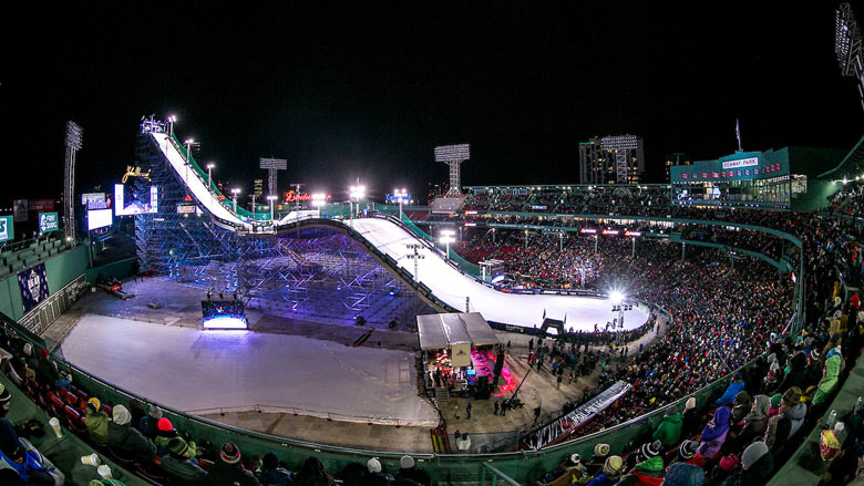 The ramp is shown during the Polartec Big Air at Fenway ski and snowboard competition at Fenway Park in Boston, Massachusetts Friday, February 12, 2016. (Photo by Billie Weiss/Boston Red Sox)