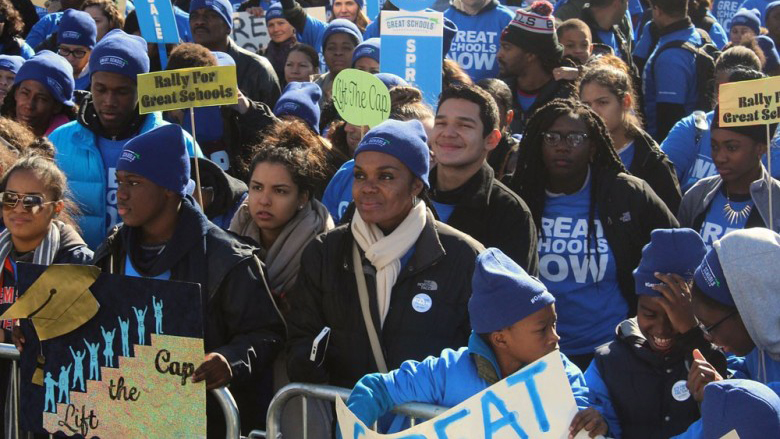 Charter school supporters march on Beacon Hill earlier this year to demand that lawmakers lift the cap on the number of charter schools allowed in Massachusetts (NewBostonPost photo by Evan Lips)