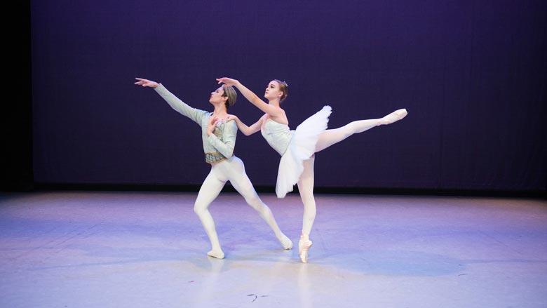 Gabrielle Beach and Derek Drilon of Boston Ballet II in Marius Petipa's La Bayadère; photo by Igor Burlak Photography. (Courtesy of Boston Ballet)