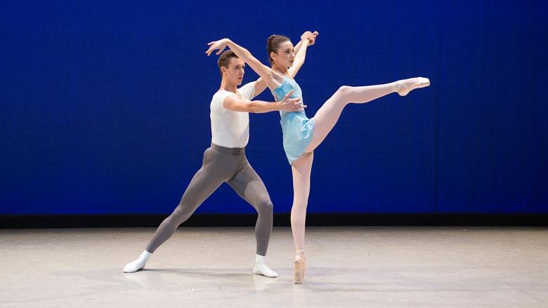 Abigail Merlis and Graham Johns of Boston Ballet II in George Balanchine's Haeiff Divertimento; photo by Igor Burlak Photography; (c) The George Balanchine Trust. (Courtesy of Boston Ballet)