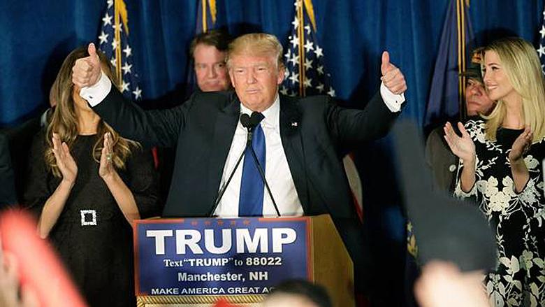 Donald Trump celebrates a win in the New Hampshire primary (AP)