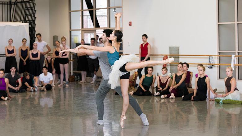 Seo Hye Han and Lasha Khozashvili in rehearsal for Ivan Liška's Le Corsaire; photo by Liza Voll, courtesy of Boston Ballet