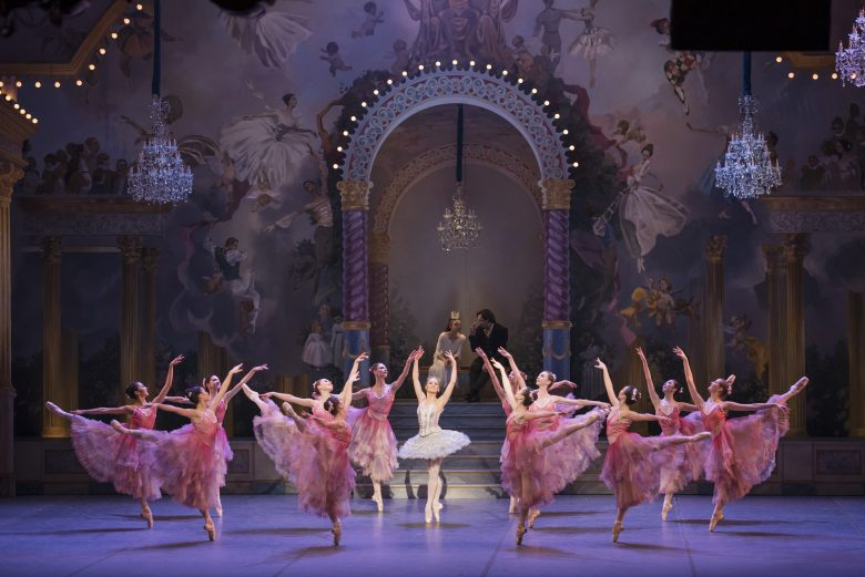 Ashley Ellis as Dew Drop (in center) and Boston Ballet in Mikko Nissinen's The Nutcracker; photo by Liza Voll, courtesy of Boston Ballet