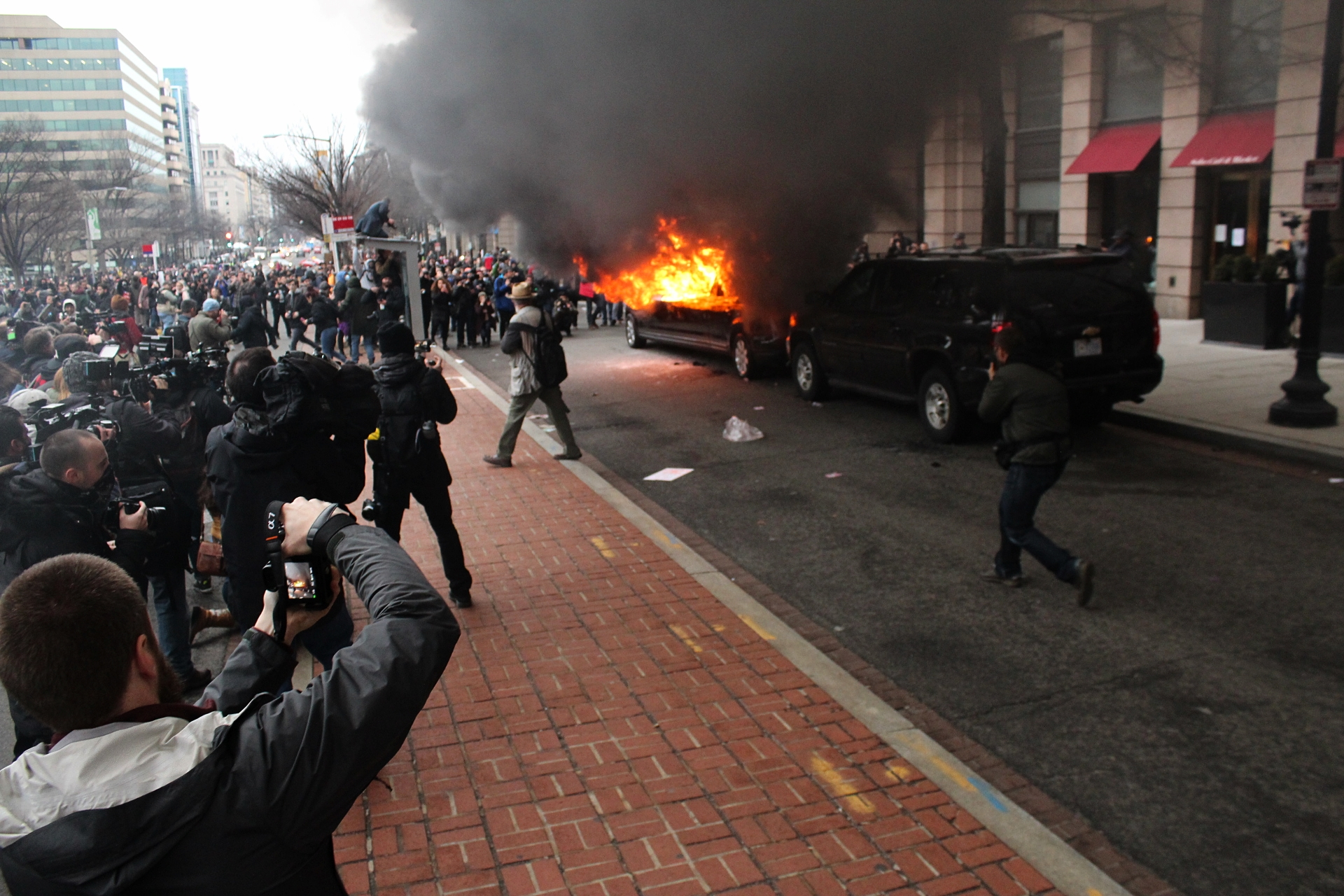 This photo shows a protest scene in Washington, not Worcester, where a peaceful protest of about 40 people occurred Inauguration Day. Photo by Evan Lips.