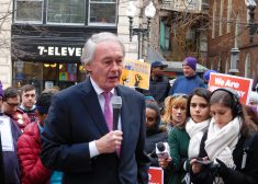 Rally Photo — Ed Markey Speaking, Looking Down — We Will Resist Rally — Boston — Tuesday 2-21-2017