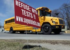 Tests Photo — Sign Against High-Stakes Tests — AP — Saved Friday 3-3-2017
