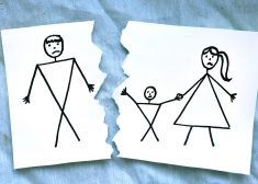 mome with son divorce father drawing