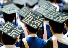College Debt Photo — Caps With Loan Figures on Them — Student Debt — Saved Saturday 6-23-2017