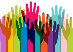 Diversity Image — Hands of Many Colors Raised in the Air — Saved Wednesday 8-9-2017