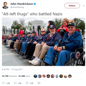 Popular Social Media Trend Among Journos Is Equating Antifa To WW2 Vets